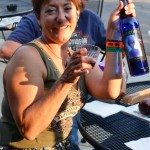 Sampling the Galactic White wine during the Sturgis Rally at the Rush-No-More Campground.
