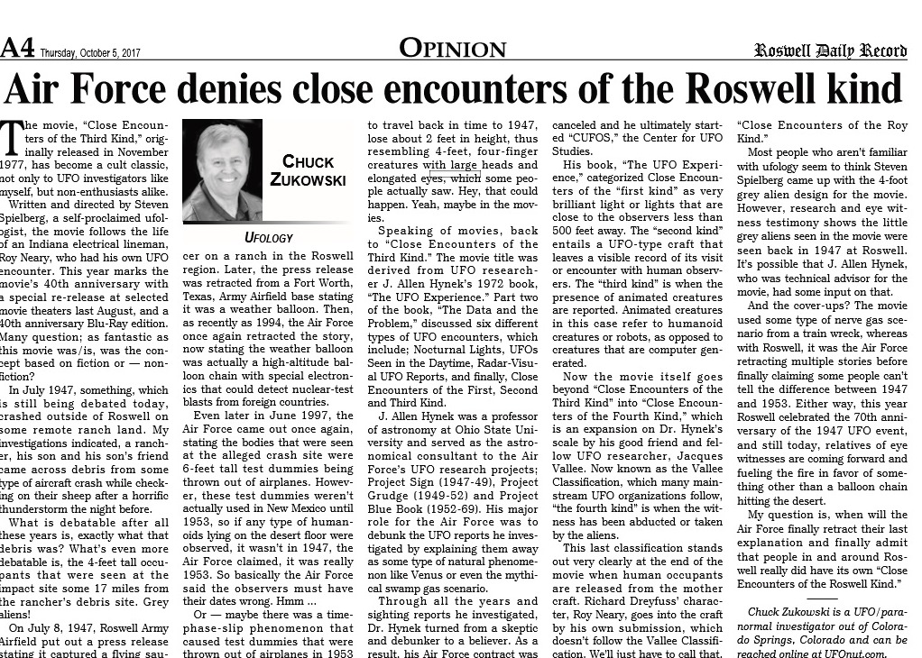 October 2017 Roswell Article